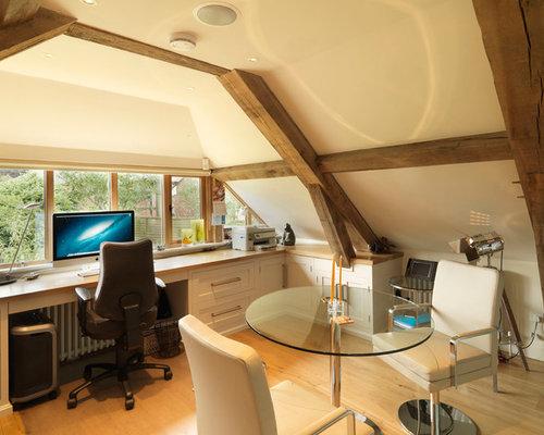 Large Farmhouse Built In Desk Medium Tone Wood Floor Study Room Idea Hampshire With