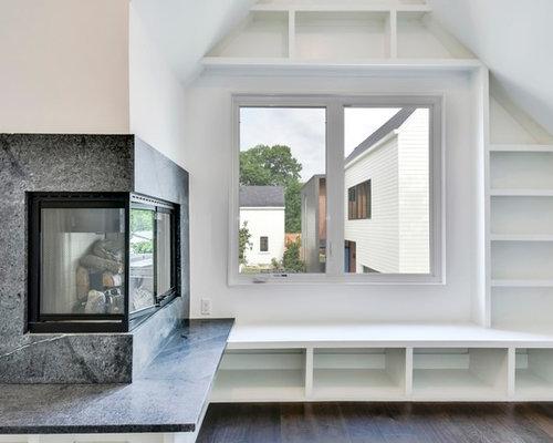 Bureau moderne avec une cheminée d angle photos et idées déco de