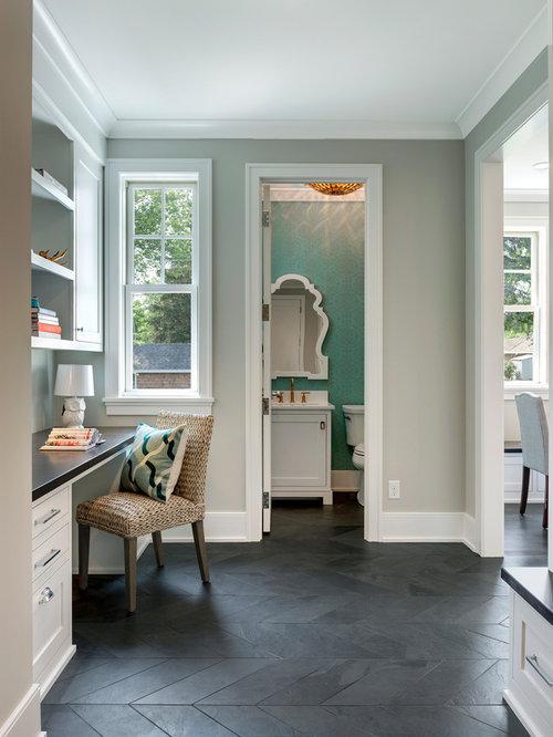 Klassische arbeitszimmer mit schieferboden einrichten for Arbeitszimmer wandfarbe