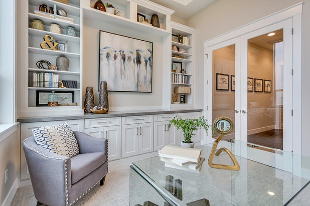Transitional Home Office by DeWils Custom Cabinetry