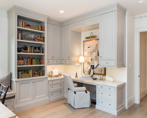 Example Of A Classic Light Wood Floor And Beige Study Room Design In Salt Lake