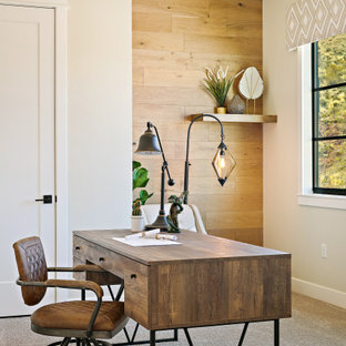 Inspiration for a modern freestanding desk carpeted and multicolored floor home office remodel in Salt Lake City with multicolored walls