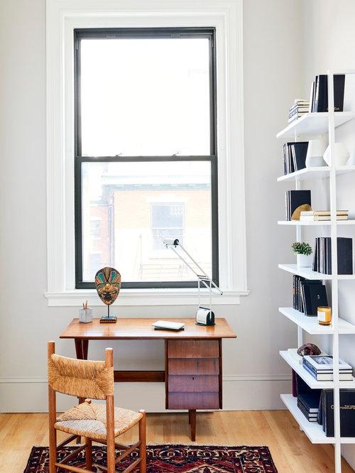 Kleine arbeitszimmer mit grauer wandfarbe ideen design for Grauer schreibtisch