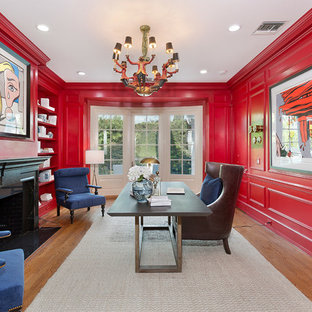 75 Most Por Contemporary Home Office With Red Walls Design Ideas For 2019 Stylish Remodeling Pictures Houzz