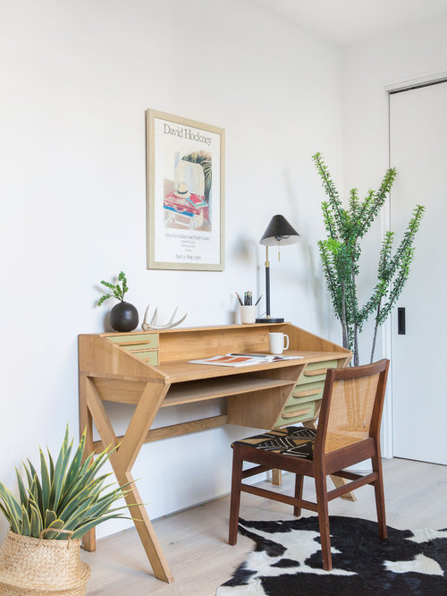 Contemporary Home Office Ideas Part - 41: Example Of A Trendy Freestanding Desk Light Wood Floor And Beige Floor Home  Office Design In