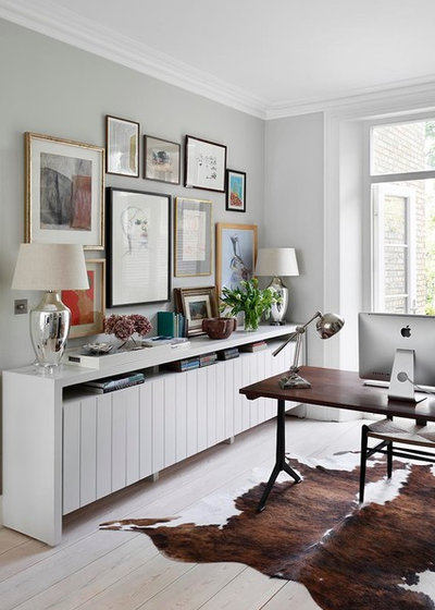 Transitional Home Office & Library by De Rosee Sa