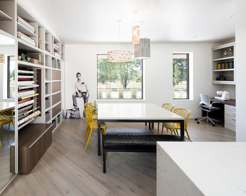 Contemporary Home Office Idea In Other With White Walls Medium Tone Wood Floors A