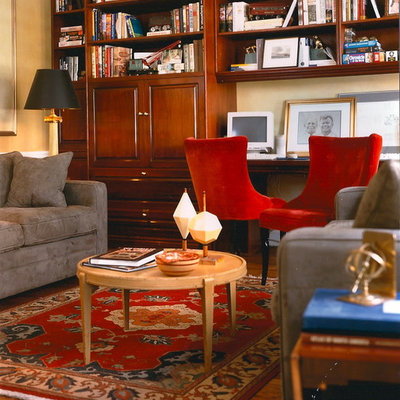 Home office - eclectic built-in desk home office idea in New York