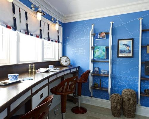 Maritime arbeitszimmer mit blauer wandfarbe ideen design - Arbeitszimmer wandfarbe ...