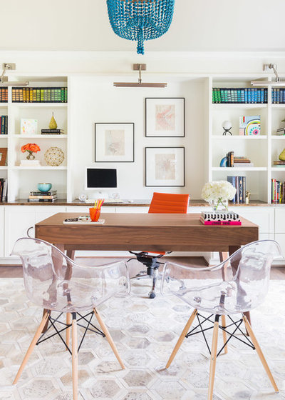 Contemporary Home Office & Library by E.L. Interiors