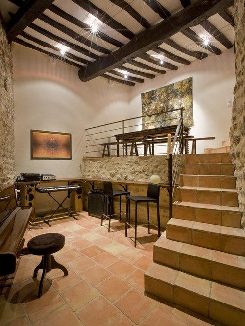 Mediterranean Freestanding Desk Home Studio Idea In Marseille With White  Walls
