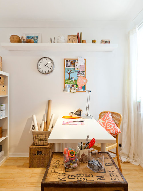 Mid sized eclectic freestanding desk light wood floor craft room idea in  Perth with whiteIkea Clock   Houzz. Living Room Clocks Ikea. Home Design Ideas