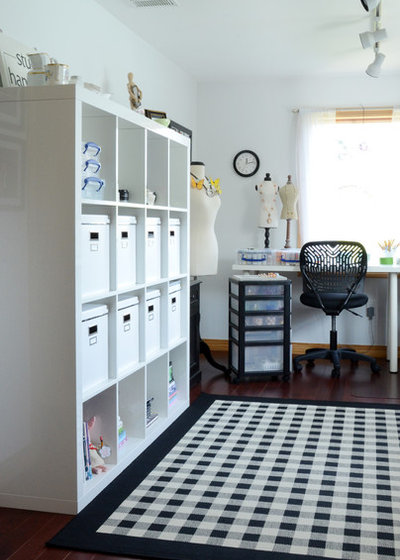 Transitional Home Office by Design Fixation [Faith Provencher]