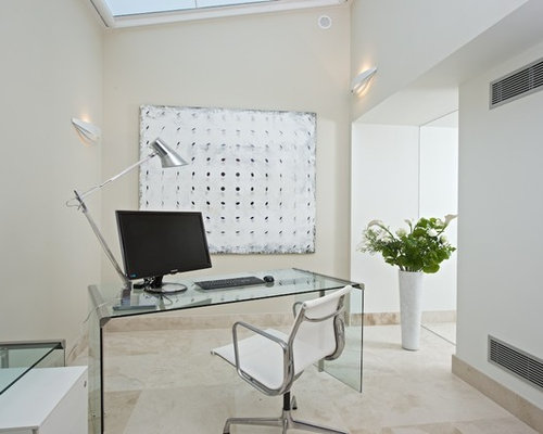 Small Contemporary Freestanding Desk Marble Floor Study Room Idea In Other  With Beige Walls