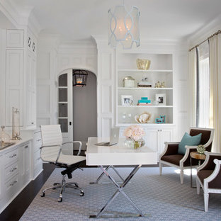 Inspiration for a transitional freestanding desk study room remodel in Atlanta with white walls and no fireplace