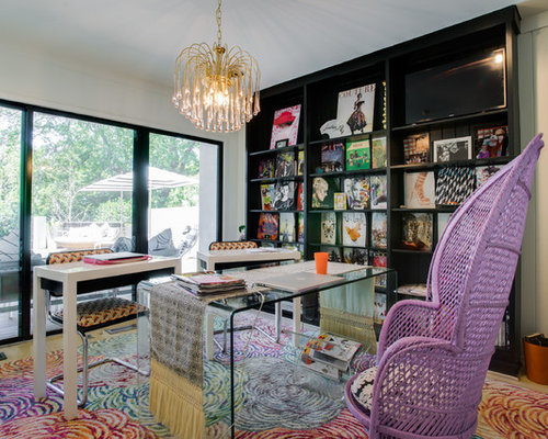Home Office Design Ideas design home office layout home design classic modern home office design Inspiration For A Mid Sized Eclectic Study Room Remodel In Dallas With White Walls