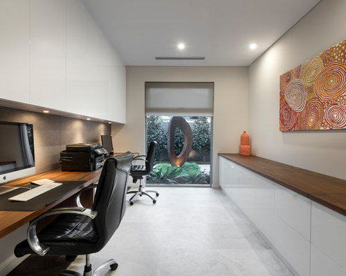contemporary home office design. Large Contemporary Study Room In Perth With Grey Walls, Limestone Floors, No Fireplace, Home Office Design