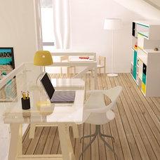 Contemporary Home Office by Praktyczne i Piękne