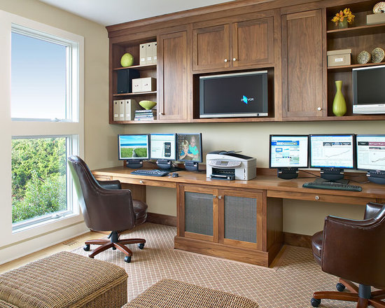 dual monitor office desk | houzz
