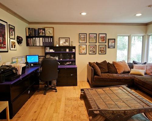 bureau moderne avec une chemin e d 39 angle photos et id es d co de bureaux. Black Bedroom Furniture Sets. Home Design Ideas