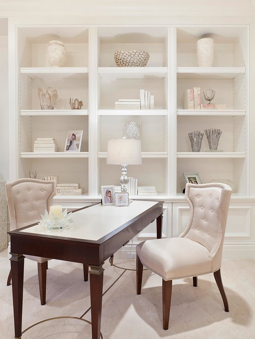 Transitional freestanding desk beige floor home office idea in Miami with  white walls