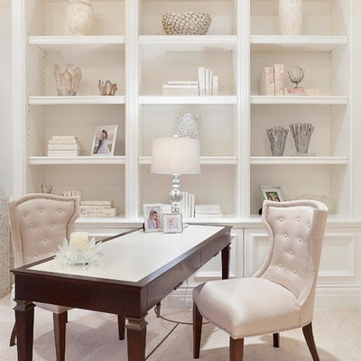 Home office - transitional freestanding desk beige floor home office idea in Miami with white walls