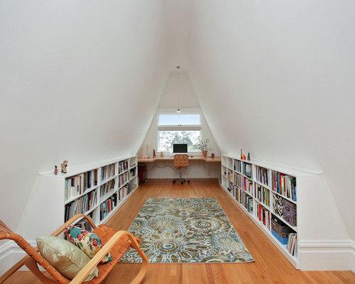 Bookshelves In Attic Houzz