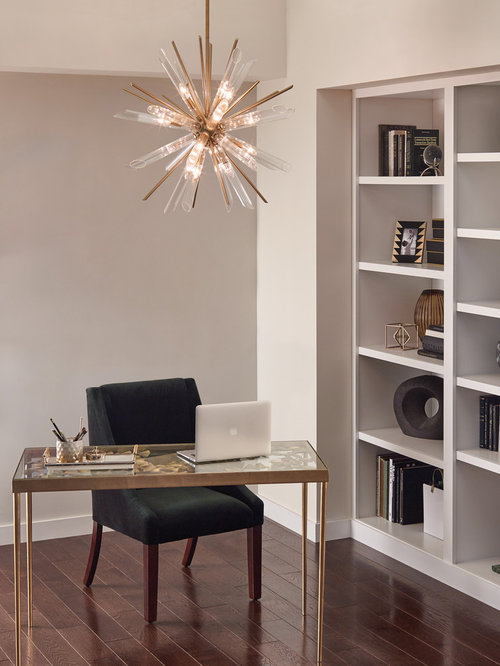 lighting home office. example of a mid-sized transitional freestanding desk dark wood floor and brown study lighting home office