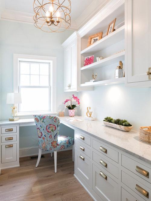 Arbeitszimmer mit blauer wandfarbe ideen design bilder houzz - Wandfarbe arbeitszimmer ...