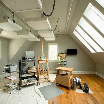 Artist's Studio with Reclaimed Wood Floor