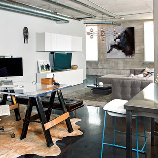 Urban freestanding desk study room photo in Los Angeles with white walls