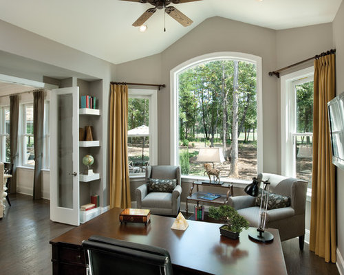 Example Of A Classic Home Office Design In Tampa With Gray Walls