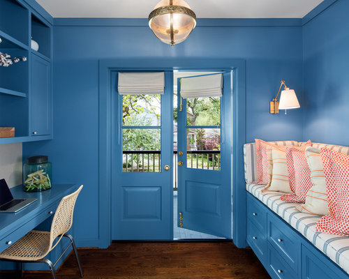 Traditional blue study room design ideas renovations photos for Study room design ideas blue