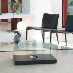 """Aster Coffee Table - Small table with tempered clear glass (.39"""") with sanded central glass part. Chromed steel central tube, wooden or lacquered wood base"""