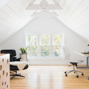 Home Office   Contemporary Freestanding Desk Light Wood Floor And Brown  Floor Home Office Idea In