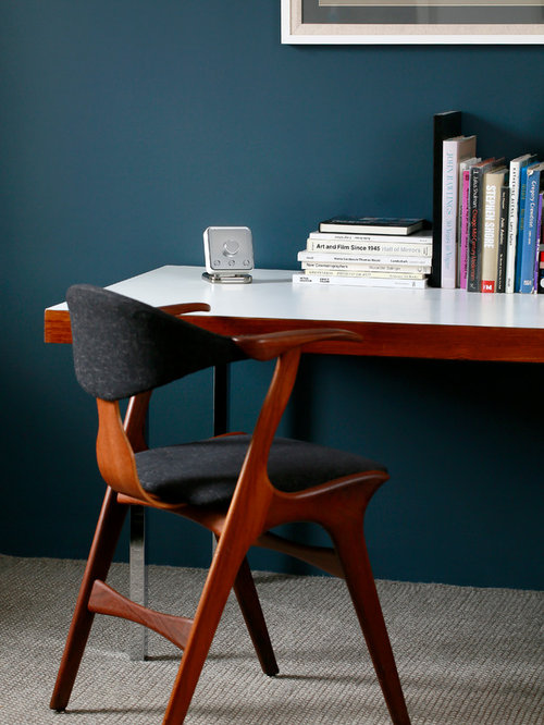 Inspiration For A Retro Home Office And Library In London.