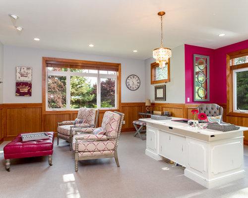 Arbeitszimmer mit kamin und rosa wandfarbe ideen design - Arbeitszimmer wandfarbe ...