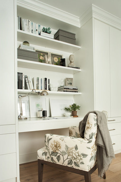 transitional home office by Kelly Deck Design