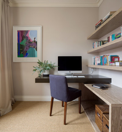 Transitional Home Office & Library by Juliet Murphy Photography