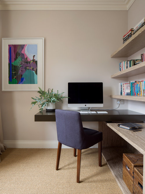 Inspiration For A Small Traditional Study In London With Beige Walls, A  Built In