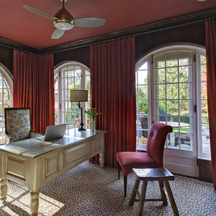 Example of an eclectic freestanding desk carpeted home office design in New York