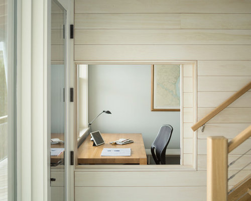 office sliding window. Home Office - Beach Style Freestanding Desk Idea In Portland Maine With Blue Walls Sliding Window