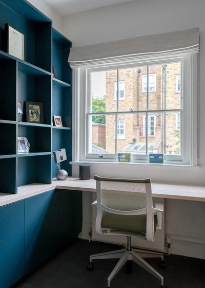 Contemporary Home Office & Library by Klimstar Building Company