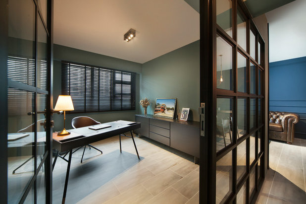 Contemporary Home Office & Library by The Scientist Pte Ltd