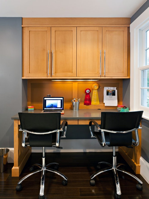 Best Orange Home Office With Dark Hardwood Floors Design
