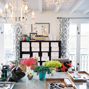 Home office - eclectic home office idea in Los Angeles with white walls