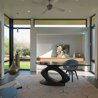 Study room - large contemporary freestanding desk porcelain tile study room idea in Austin with white walls and no fireplace