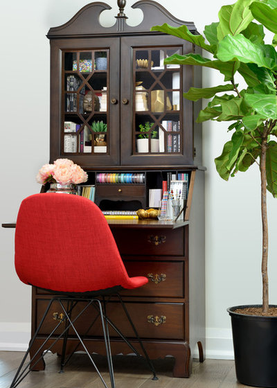 Transitional Home Office & Library by Judith Taylor Designs