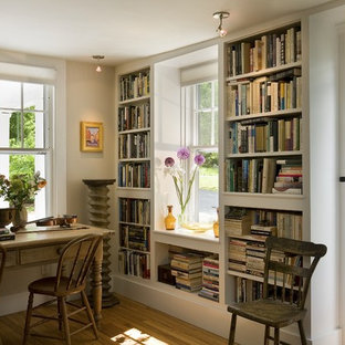 Bookcases flanking window