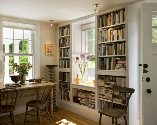 Living Room Bookshelf Inspiration For A Timeless Home Office Remodel In Burlington With Library And Medium Tone Hardwood